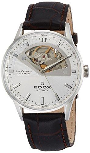 Edox Damen LES VAUBERTS 37 mm schwarz Leder Band automatische Armbanduhr 85019 3 A AIN