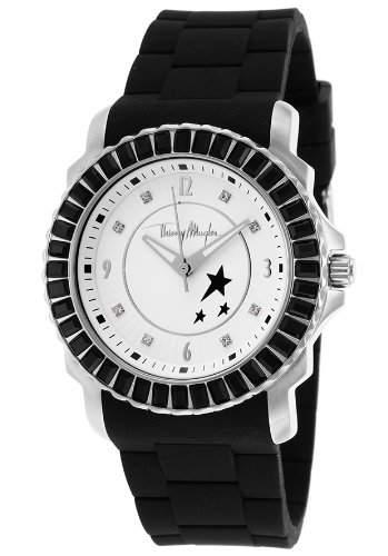 Thierry Mugler Damen 38mm Schwarz Kautschuk Armband Mineral Glas Uhr 4718002