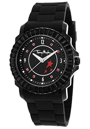 Thierry Mugler Damen 38mm Schwarz Kautschuk Armband Mineral Glas Uhr 4718006