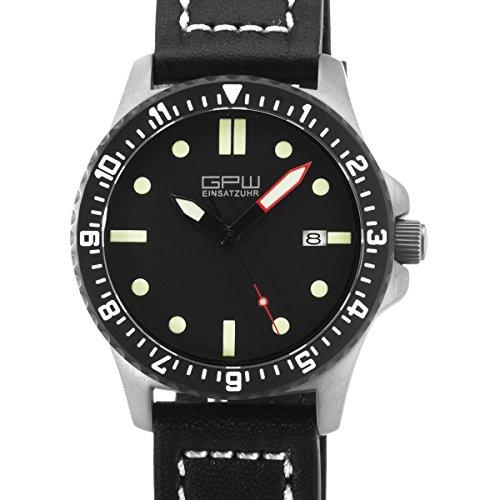 Bundeswehr Titan Automatik Uhr GPW Datum 200 m w R Saphirglas Schwarz Leatherstrap