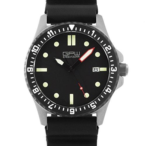 GPW Military Datum Rot Minutenzeiger Luminous Titan Automatische Kristall Saphir Armbanduhr