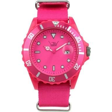 LTD Watch Unisex-Armbanduhr Canvas Analog Textil pink LTD 091101