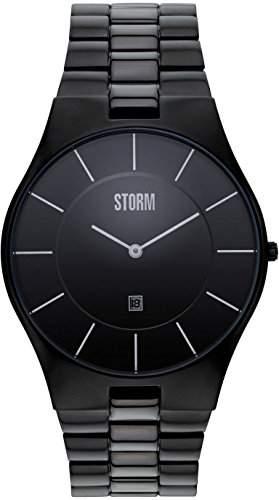 Storm Herren-Armbanduhr Analog edelstahl Schwarz Slim-X XL Slate