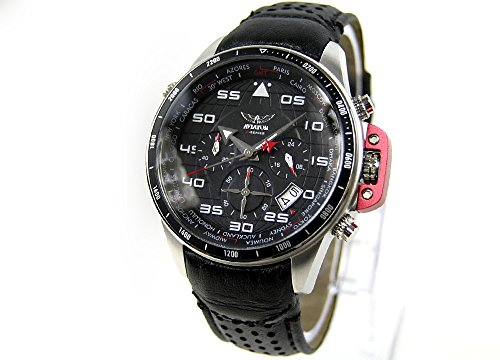 AVIATOR Uhr watch Chronograph Traveller Collection AVW1265G149 Leder schwarz