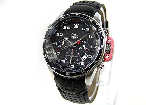 AVIATOR Herren Armbanduhr Uhr watch Chronograph Traveller Collection AVW1265G149 Leder schwarz