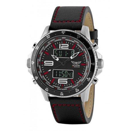 Herren Aviator Armbanduhr analog digital Schwarz AVW1931G253