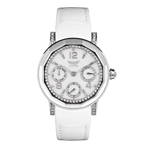 AVIATOR avw9516l79 weiss Leder Armbanduhr