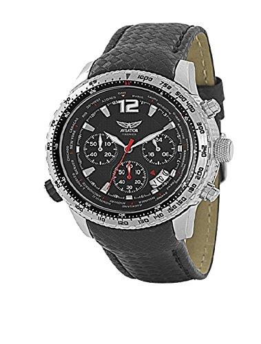 AVIATOR avw9480g117 Chronograph Schwarz Lederband Armbanduhr