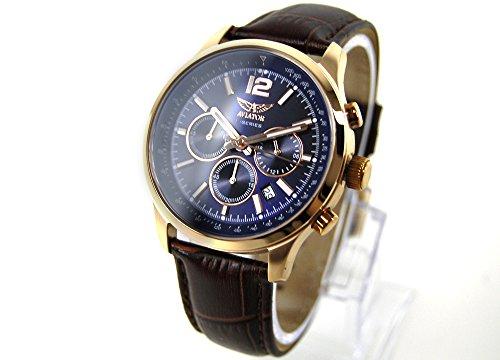 AVIATOR Herren Armbanduhr watch Chronograph AVW1812G283 Leder braun