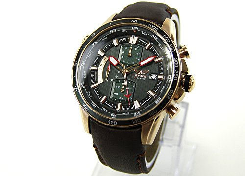 AVIATOR watch Armbanduhr Chronograph AVW2020G288 Leder braun