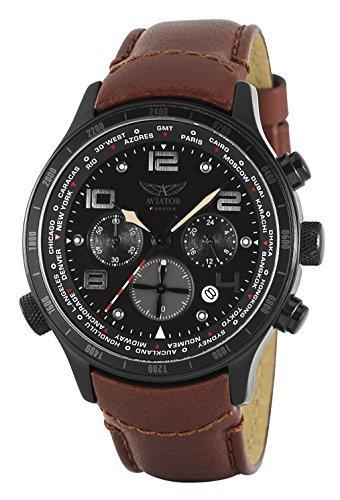 AVIATOR Armbanduhr Pilotenuhr Chronograph AVW1266G153 braun Leder