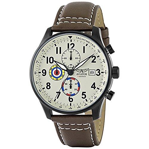 AVIATOR Armbanduhr Pilotenuhr Chronograph VINTAGE AVW2044G292 braun Leder