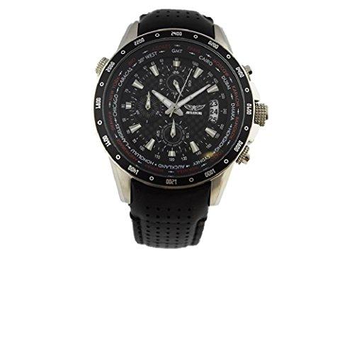 AVIATOR Pilotenuhr Chronograph Weltzeituhr AVW7770G78 schwarz Leder