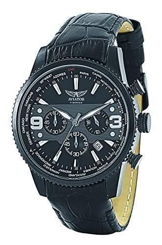 Aviator - Herren AVW3954G117 Edelstahl Chronograph Schwarze Anzeige Lederarmband Armbanduhr 50m wasserfest