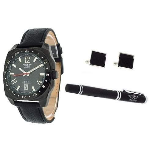 Aviator Herren Set mit Stift, Manschettenknoepfen und Armbanduhr aus echtem Leder AVX1899G2