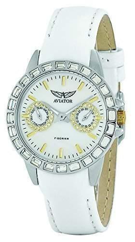 AVIATOR Damen Armbanduhr Edelstal Multi Ziffernblatt mit auswechselbaren Blenden & weissem Uhrenarmband