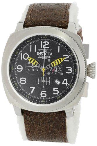 Invicta MenAviator Herren Quarzuhr mit schwarzem Zifferblatt Chronograph Anzeige auf braunem Lederband 12313