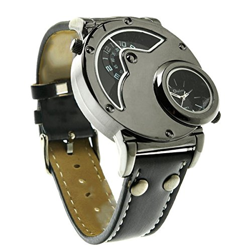 SAMGU Aviator Pilot Army Military Sports Quarzmens Armbanduhr Doppelzeit schwarzen Lederarmband Farbe schwarz 2