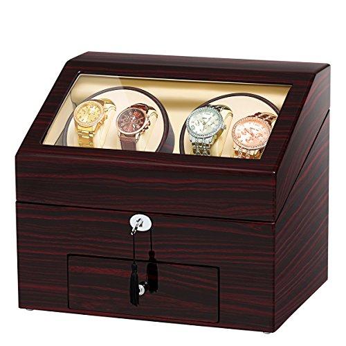 JQUEEN Automatische Holz Uhrenbeweger Display Kasten 4 9 Speichern