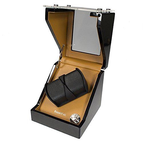 Rosenfelt UHRENBEWEGER JULES Uhrenaufzieher fuer 2 Automatische Uhren Direktantrieb mit Japanischem Motor Gangart einstellbar Batterie Bertieb moeglich mit Beleuchtung