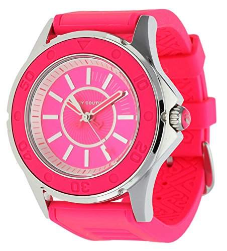 Juicy Couture Ladies Rich Girl Neon Pink Silicone Strap Watch- 1900872