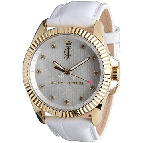 Juicy Couture Ladies Stella Gold Tone White Leather Strap Watch- 1900930