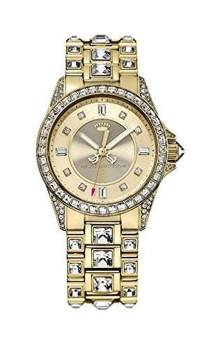 Juicy Couture Stella Damen Quarzuhr mit Gold Zifferblatt Analog-Anzeige und Rose Gold Armband 1901103