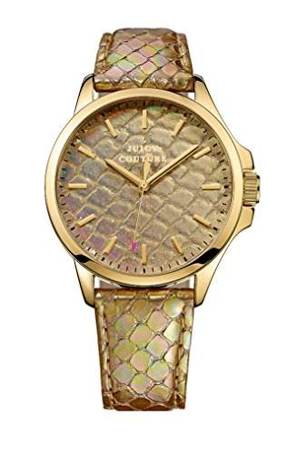 Juicy Couture Jetsetter Damen Quarzuhr mit Gold Zifferblatt Analog-Anzeige und Gold Lederband 1901162