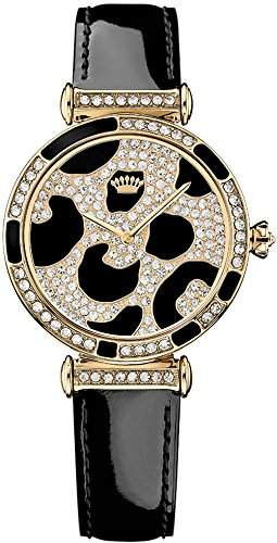 Juicy Couture 1901170 Ladies J Couture Stone Set Watch With Two Tone Dial And Black Strap