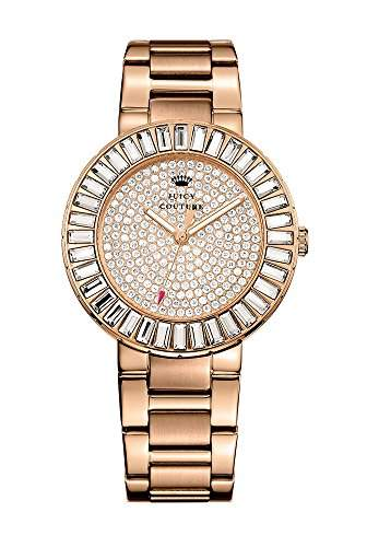 Juicy Couture Grove Women- Armbanduhr Analog Quarz Armband Silber Rosé-Gold 1901183