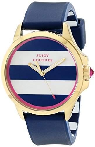 Juicy Couture Damen-Armbanduhr 38mm Armband Silikon Blau Gehaeuse Goldfarbenes Edelstahl Quarz 1901222