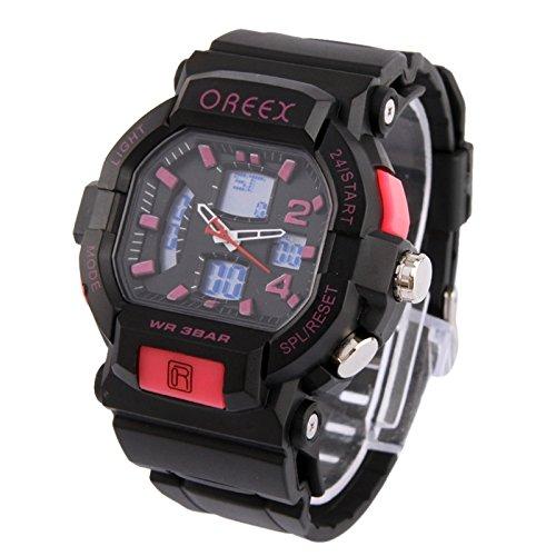 SunSky Dual Display Digital Watch Sport Armbanduhr by diebelleu Farbe pink