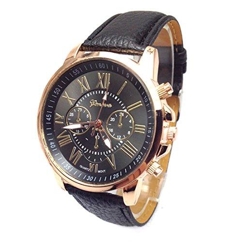 2016 Stecker Qualitaet Leder Guertel Casual Fashion Uhren Drei six pin Quarz Uhren Quarzuhr schwarz