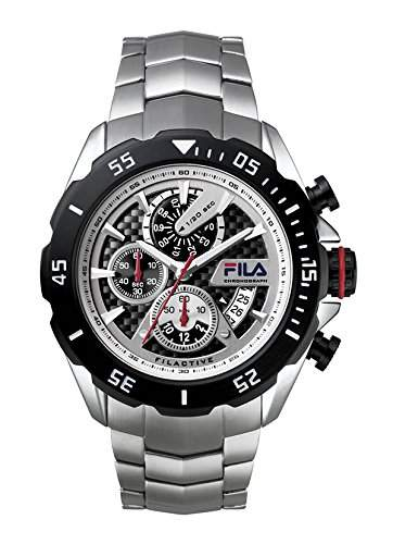 FILA Herrenuhr Armbanduhr Quarz 38-041-001 FILACTIVE Silber Schwarz Sport Chronograph