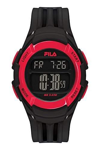 FILA Unisex-Armbanduhr Digital Quarz 38-048-001 FILACASUAL Schwarz Rot Plastik