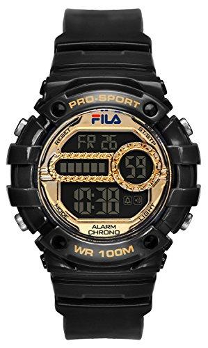 FILA Unisex Armbanduhr Digital Quarz 38 099 004 FILACTIVE Schwarz Gold Plastik