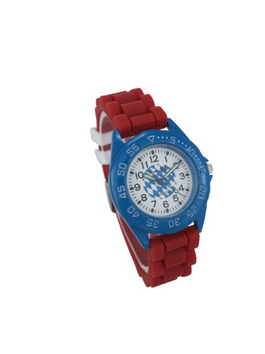 Pacific Time Jugenduhr Damen Silikonband rot blau weiss