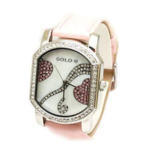 Solo - 3292700 - rosa Damenuhr mit Herz