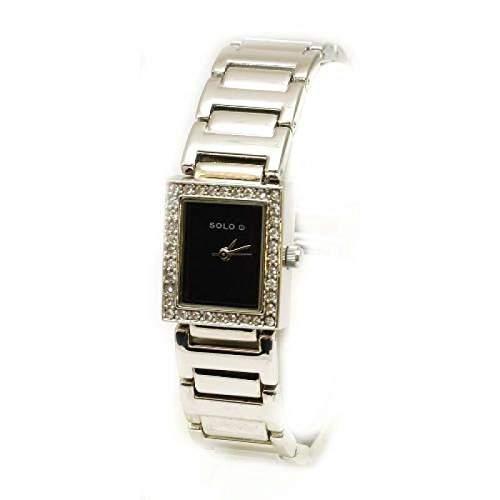 Solo - 3292792 - elegante Damenuhr mit schwarzem Zifferblatt