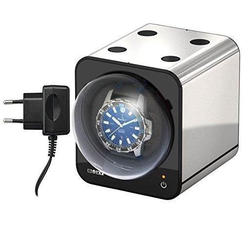 Boxy Fancy Brick Uhrenbeweger Farbe PLATIN mit Netzadapter von BECO Technic MODULARES SYSTEM Power Sharing Technologie Programmierbar Qualitativ hochwertig