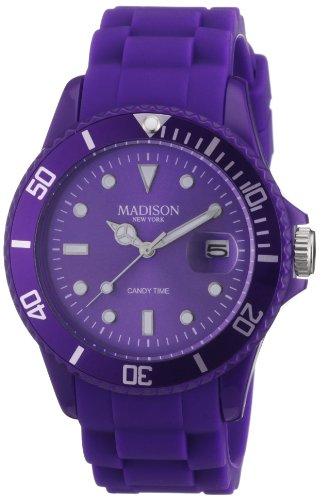 Madison New York Unisex Armbanduhr Candy Time Analog Silikon lila U4167 01 2