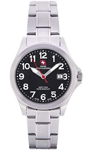 Swiss Mountaineer Damenuhr Edelstahl-Armband Schwarzes Zifferblatt Datumsanzeige Einfache Lesen Sie SM8035