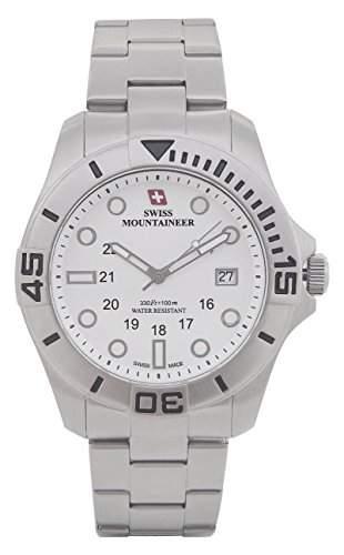 Swiss Mountaineer HerrenUhr-Silber-Ton-Edelstahl-Armband Gross Weiss Zifferblatt Datum SM8020