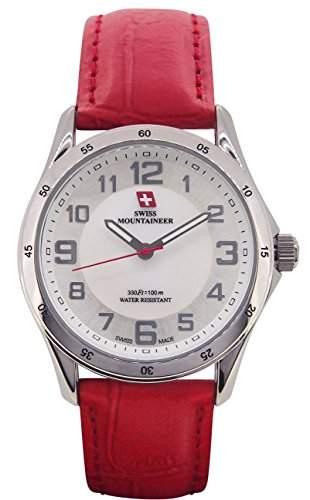 Swiss Mountaineer Damen Armbanduhr-Rotes Ledernes Band-Weiss MOP Zifferblatt Einfache Lesen SM8051