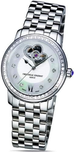Frederique Constant Geneve Heart Beat Automatic FC310DHB2PD6B2 Elegante Damenuhr mit echten Diamanten