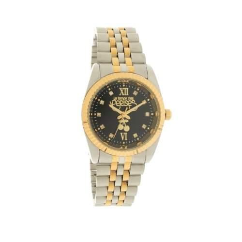 Le Temps des Cerises tca02bkm2-TC Caps zweifarbig Damen-Armbanduhr-Quarz Analog-Zifferblatt schwarz Armband Metall Zweifarbig