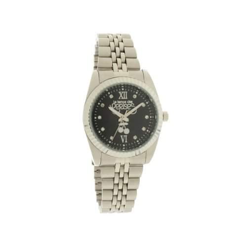 Le Temps des-TCA03BKM2S-TC Caps Silver Damen-Armbanduhr-Quarz Analog-Zifferblatt schwarz Armband Metall silber