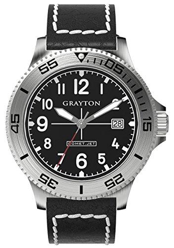Grayton Herren Armbanduhr Comet Jet Analog Quarz Leder GR 0014 003 1