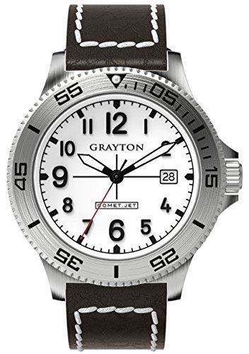 Grayton Herren Armbanduhr Comet Jet Analog Quarz Leder GR 0014 003 3