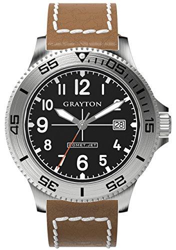 Grayton Herren Armbanduhr Comet Jet Analog Quarz Leder GR 0014 003 5